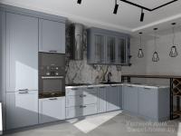 Угловая кухня Тренд из крашеного МДФ в стиле неоклассика (современная классика) с барной стойкой в стиле лофт