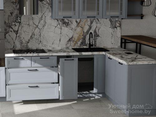 Угловая кухня Тренд из крашеного МДФ с барной стойкой