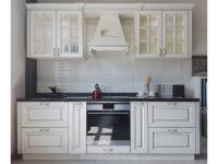 Кухня Кантри из МДФ, покрытие ПВХ Ясень с патиной серебро
